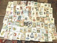 Lot of 100 Antique Holiday Postcards  Quality!  Santa NY Vday Bday Easter Tday