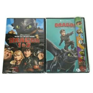 Lot of 2 NEW DVDs How To Train Your Dragon 1 And 2/Hidden World + Slap Bracelet