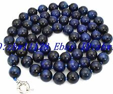 Eye Gemstone Necklace 36'' Aaa Pretty 8mm 100% Natural Blue Tiger's