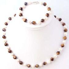 Natural 7-8mm White Freshwater Pearl & Tiger's eye Necklace Bracelet Jewel Set