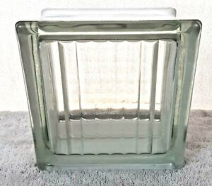"Vintage Antique 5.75"" x 5.75"" x 3"" Ribbed Glass Block Old Window Craft Decor"