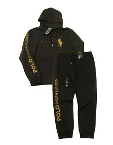 Polo Ralph Lauren Men's Black Big Gold Pony Logo Double Knit Hoodie & Pant Set