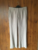 RRP £119 POETRY SUMMER 100% LINEN TROUSERS Grey Striped 10 / 38 - NEW