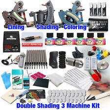 Professional Complete Tattoo Kit 3 Top Machine Gun 6 Inks 50 Needle Power Supply