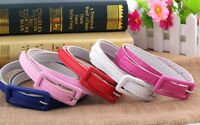Women Belt Waistband Colorful Leather Square Pin Buckle Narrow Thin Waist Chain