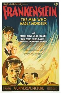 Frankenstein Vintage Movie Poster Lithograph Boris Karloff S2 Art