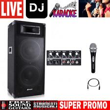 """SkyTec CSB215 Cassa Attiva  2 coni da 15"""" per Karaoke Disco DJ + MICROFONO CANTO"""