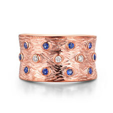 Fine Jewelry Solid 10K Rose Gold Blue Sapphire&White Sapphires Women's Band Ring