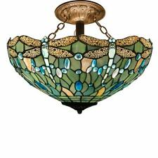 Green Dragonfly Ceiling Lamp Hanging Victorian Tiffany Style Light Stained Glass