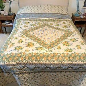Vintage Macassar Double Quilt Comforter Floral Provence Style 238 x 244