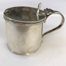 Antique Solid Silver Drum Mustard Pot Adie Bros Ltd 1923 Width 7.5cm Dents Etc.,