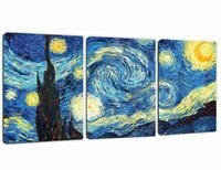 3 Pcs Van Gogh Starry Night Canvas Wall Art Picture Print Home Decor Framed