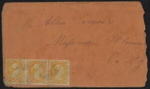 CANADA 1870 SMALL QUEEN 1¢ STRIP OF 3 YELLOW ORANGE PRESCOTT ONTARIO