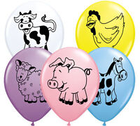 "Pack of 10 - 12"" Latex Balloons Baby Girl/Boy - Farm Animals Printed Balloons"