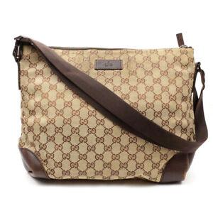 GUCCI GG Canvas Shoulder Bag Beige x Brown