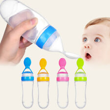 Baby Kid Silicone Squeeze Feeding Bottle With Spoon Food Rice Feeder 90ML Useful