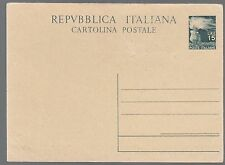REPUBBLICA  INTERO POSTALE CARTOLINA POSTALE LIRE 15 1949 NUOVA C141  VEDI FOTO