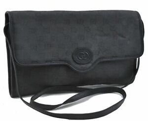 Authentic GUCCI Shoulder Cross Body Clutch Bag 2Way GG Canvas Leather Gray D2713