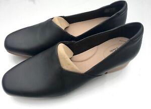 "New CLARKS ""Juliet Palm"" 9W Black Leather Loafer Dress Shoe"