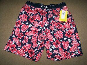 NWT Gap Surf Swim Shorts Boys XXL 14 16 ~ UPF 50+ ~ Tropical Print ~ Blue Red ~