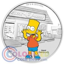 2019 1 oz $1 Tuvalu Bart Simpson Proof Silver Coin NEW