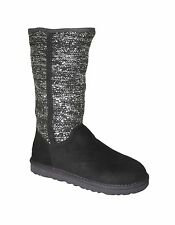 UGG Australia Camaya Women's Sequined Sweater Knit Shaft Boots Charcoal Sz 7
