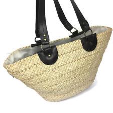 Large Basket Wicker Weave Shopper Tote Bucket Faux Leather Strap Bag
