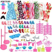 83 items/set Doll Accessories For Barbie 18Pairs Shoes 10 Dress Outfits Clothes