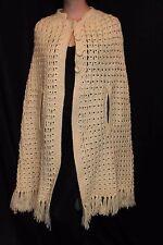 Sz S Vtg 70s Cream Cloak Hand Crochet Cape Poncho Sweater Jacket Coat Wrap