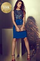 Little Mistress Ladies 10 Dress Teal Sequin Embellished Cut Out By Look Magazine