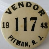 1947 Pitman New Jersey Vendor Employee ID Badge Vintage Pinback Pin Button
