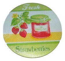 Tempered Glass Trivet Fruit Fresh Strawberries Jam 8 Inch 15185