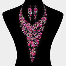 LUXE Silver Fuchsia AB Crystal  COUTURE Cocktail  Necklace Set By Rocks Boutique
