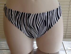 Panache Zambia Low Rise Swim Pants/Bikini Bottoms Zebra Print UK Size 12 BNWT