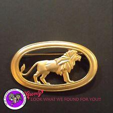 """""""JJ"""" Jonette Jewelry Gold Pewter 'Lion in Oval Pin Walking' Free Shipping"""