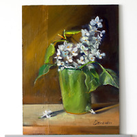 WHITE LILAC in the cup Still Life oil painting 7.2 x 9.6 inch 18 x 24 cm