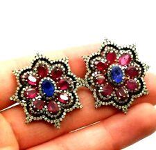 Sapphire Ruby Diamonds Fine Sterling Silver 925 Earring 15g KAT779