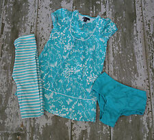 Gap BUTTERFLIES Aqua Cap Sleeve Knit Bib front Dress Striped Leggings Set Size 5