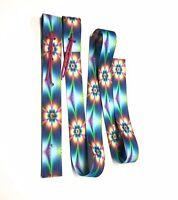 """western tie dye flower cinch strap set off billet and Latigo 2"""""""