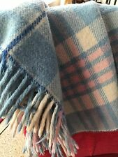 VTG Pink Blue Plaid Wool Baby Carriage Blanket Lap Blanket Fringed Beautiful!