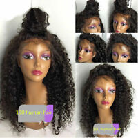Brazilian Deep Curly Human  Hair Front Wigs Full Lace Wig Baby Hair Around