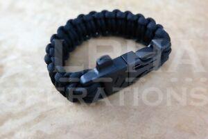 New Paracord Survival Bracelet Paraband Black Camping Fire Starter Knife Whistle