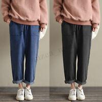 UK 8-24 ZANZEA Womens Denim Jeans Look Casual Loose Cargo Pants Trousers Plus