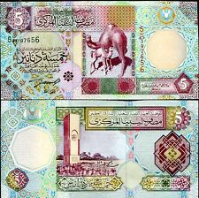 LIBYA 5 DINARS ND 2002 P 65 SIGN 4 AUNC ABOUT UNC