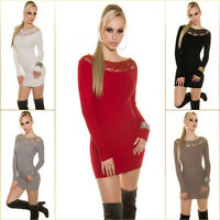 Top Women Jumper Mini Dress Clubbing Ladies Pullover Sweater Size 6 8 10 12