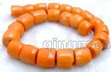 "SALE Big 15-20mm High Quality Natural Orange Column Knurl Coral strand 15""-los61"