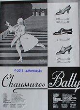 PUBLICITE BALLY CHAUSSURES CHINE NOIR DAIM VERNI DE 1929 FRENCH AD JEAN D'YLEM