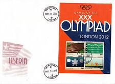Liberia 2012 FDC GIOCHI OLIMPICI DI LONDRA 4v foglio COPERTURA TRACK Nuoto Olimpiadi Giochi