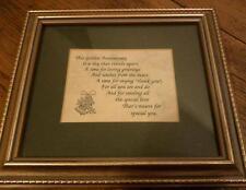 Golden Wedding Anniversary Framed Poem / Greeting - VGC