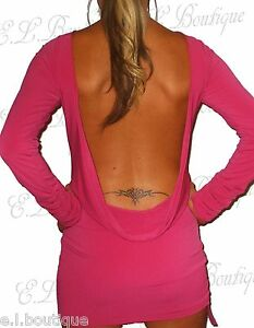 VICKY MARTIN hot pink long sleeve fitted backless mini dress BNWT 12 RRP £175!!!
